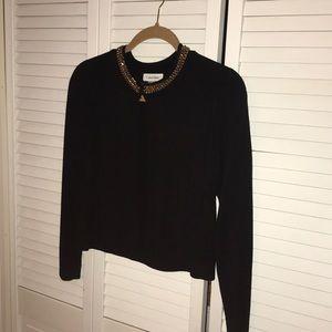 NWT Calvin Klein black shrug with gold chain